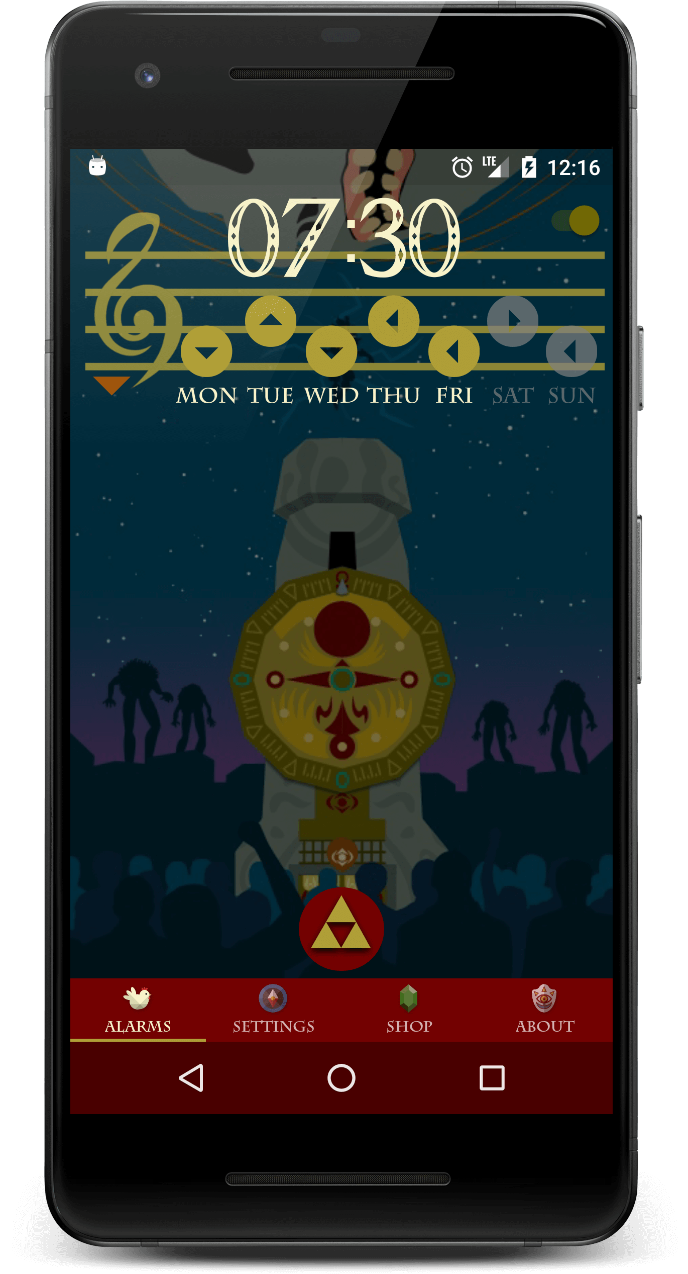 Zelda alarm clock on pixel 2 phone