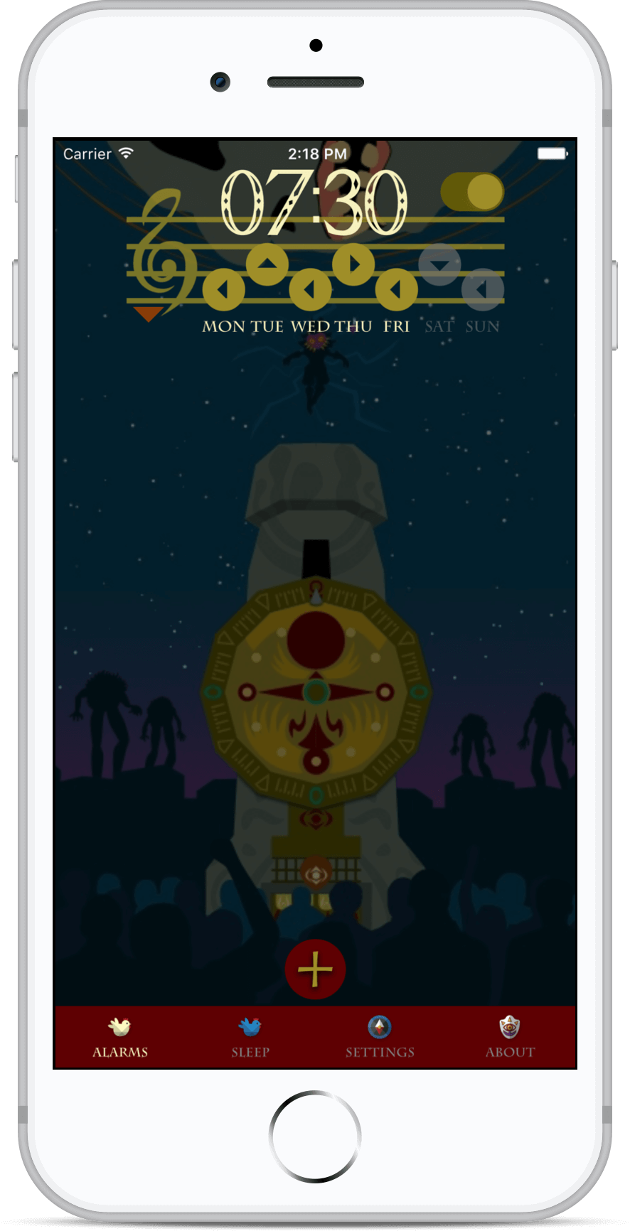 Zelda Alarm clock app on iphone 8 white